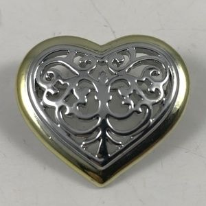 Vintage Heart Brooch, Gold and Silver Tone Brooch